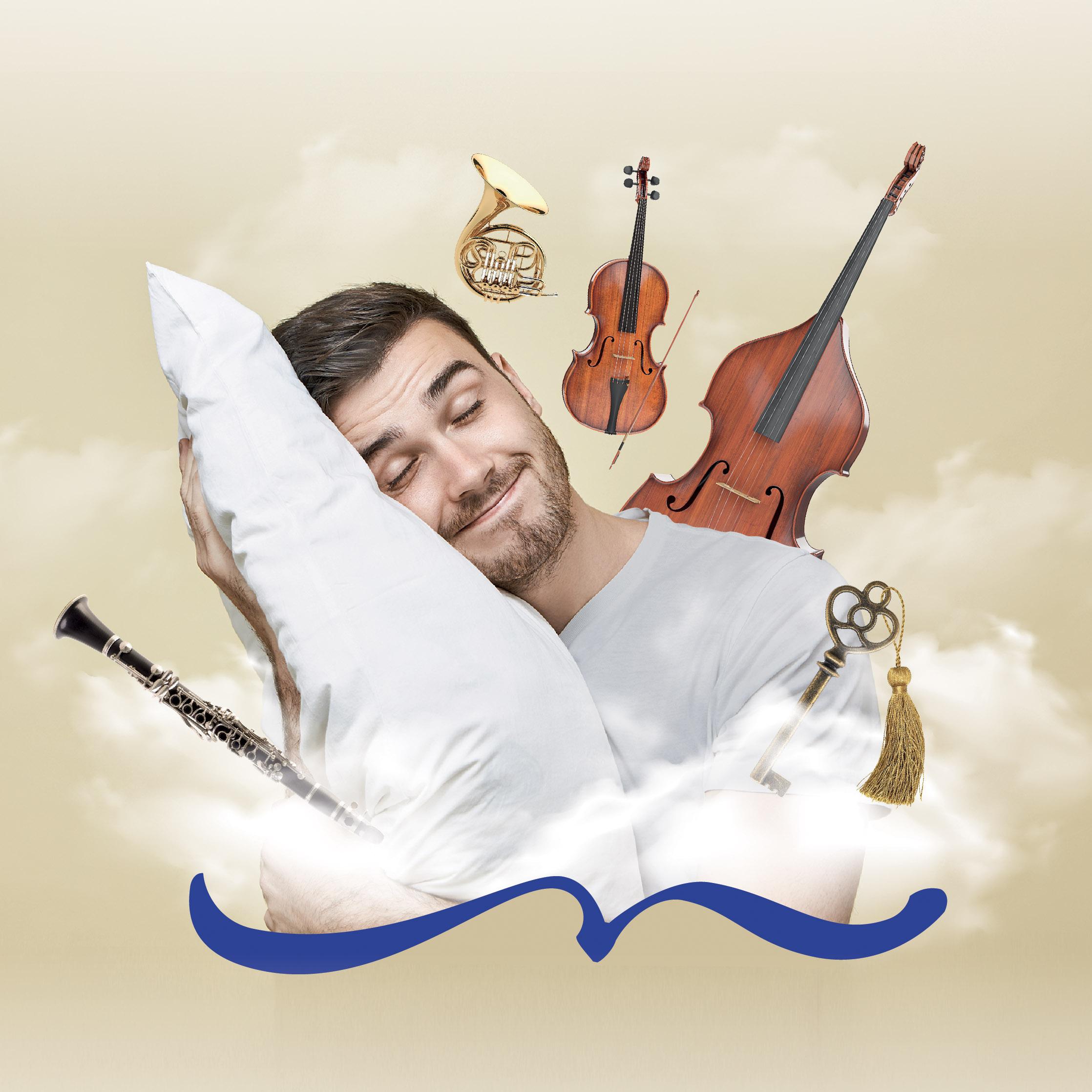 Homme rêveur ayant la tête posée sur l'oreillé entouré d'instruments de musique